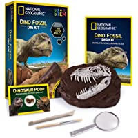 NATIONAL GEOGRAPHIC Dino Fossil Dig Kit - Dig Up a T.Rex Tooth Replica, Includes a Genuine Dinosaur Coprolite, Science…