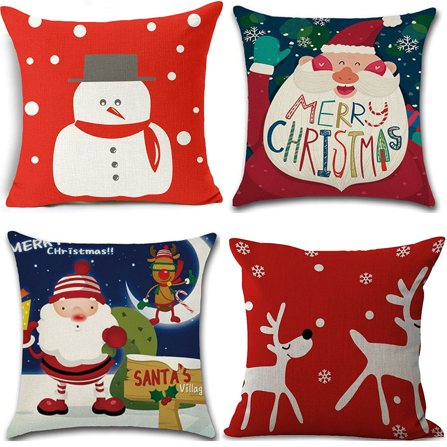 "Christmas Pillow Covers Set of 4, 18"" x 18"" Holiday Throw Pillows, Whimsical Modern Design (Snowman Reindeer, Santa"