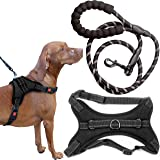 Zenify Pets Dog Harness Leash Set - Chest Control Grab Adjustable Reflective for Large Dogs (Black 5ft XL)
