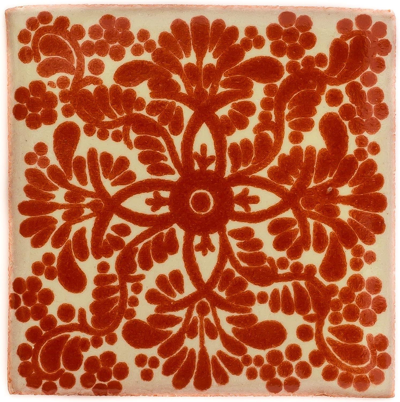 10,5 cm fait /à la main et /éthiquement n/égoci/é par Tumia LAC Lot de 10 Carrelage en c/éramique mexicaine