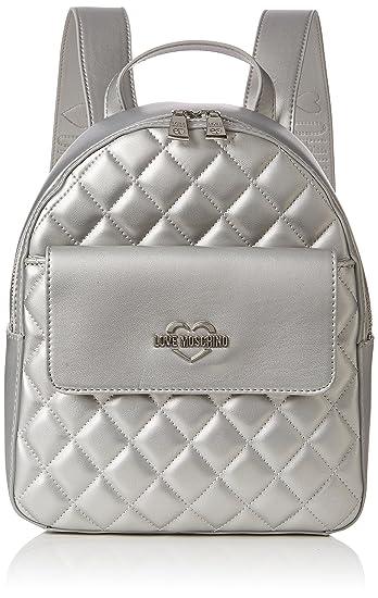 Borsa Quilted Metallic Pu Argento, Womens Backpack Handbag, Silver, 11x28x26 cm (B x H T) Love Moschino