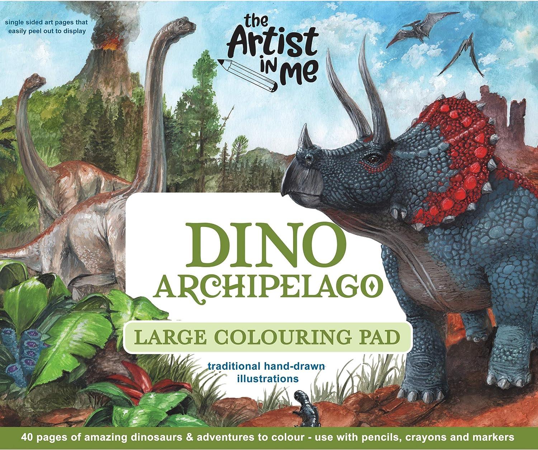 The Artist in me - Dino Archipiélago - Bloc para Colorear Grande - ilustrado con un Gran Regalo para niños - Hecho en Australia: Amazon.es: Juguetes y juegos
