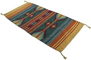 Onyx Arrow Southwest Décor Area Rug, 20 x 40 Inches, Pueblo Pattern Green/Mustard