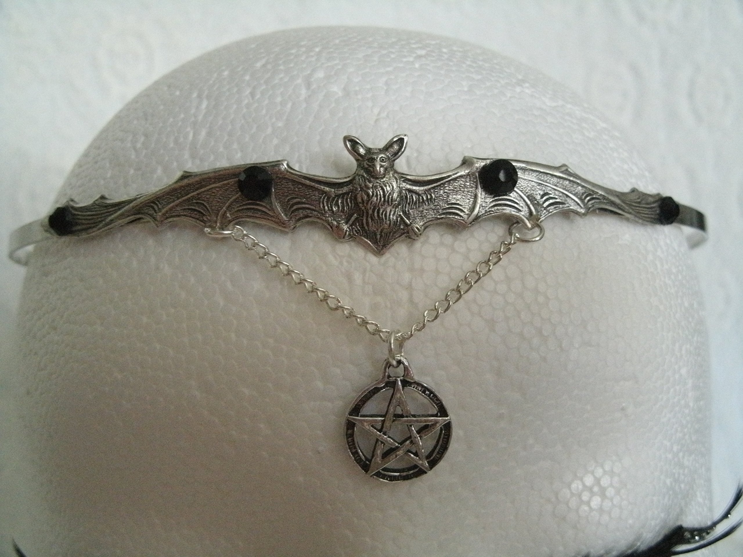 Bat Pentacle Circlet handmade jewelry wiccan pagan wicca witch witchcraft pentagram headpiece gothic goth