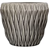Bloomingville Diamond Round Ceramic Flower Pot, Large, Grey