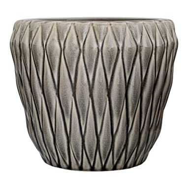Bloomingville A27122068 Round Grey Ceramic Flower Pot
