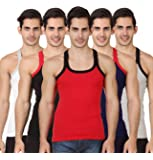 Hap Kings Rib Mens Gym Vest Multicolor Pack (Pack of 5)