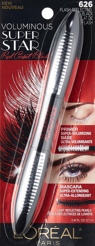 Amazon.com : L'Oréal Paris Voluminous Superstar Red Carpet Extra Mascara, Flash Reflecting Black, 0.41 fl. oz. : Beauty