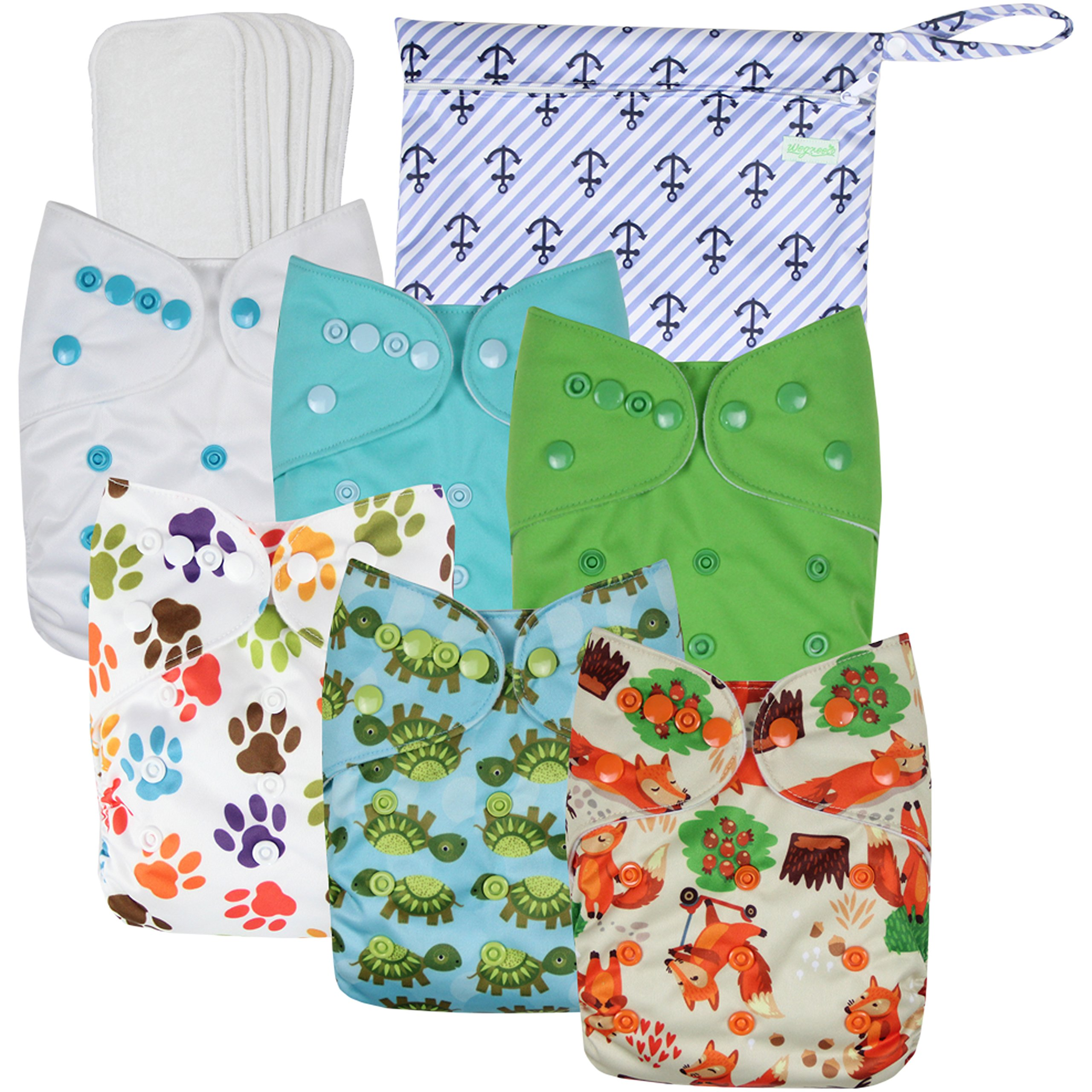 Wegreeco Washable Reusable Baby Cloth Pocket Diapers 6 Pack + 6 Bamboo Inserts (with 1 Wet Bag,Neutral Prints) by wegreeco