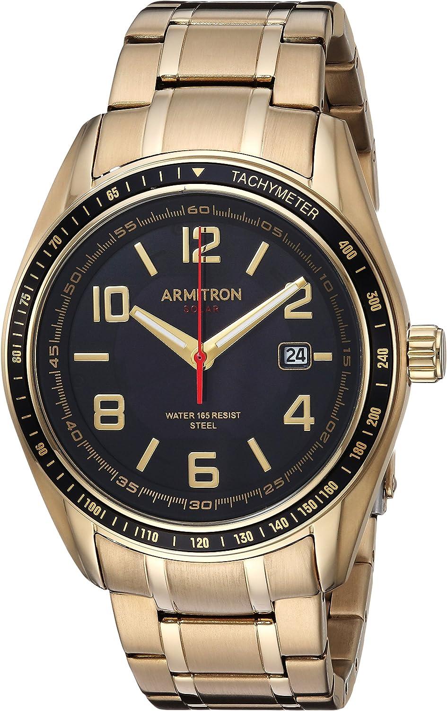 Armitron Men s 20 5252BKGP Solar Powered Date Calendar Dial Gold-Tone Bracelet Watch