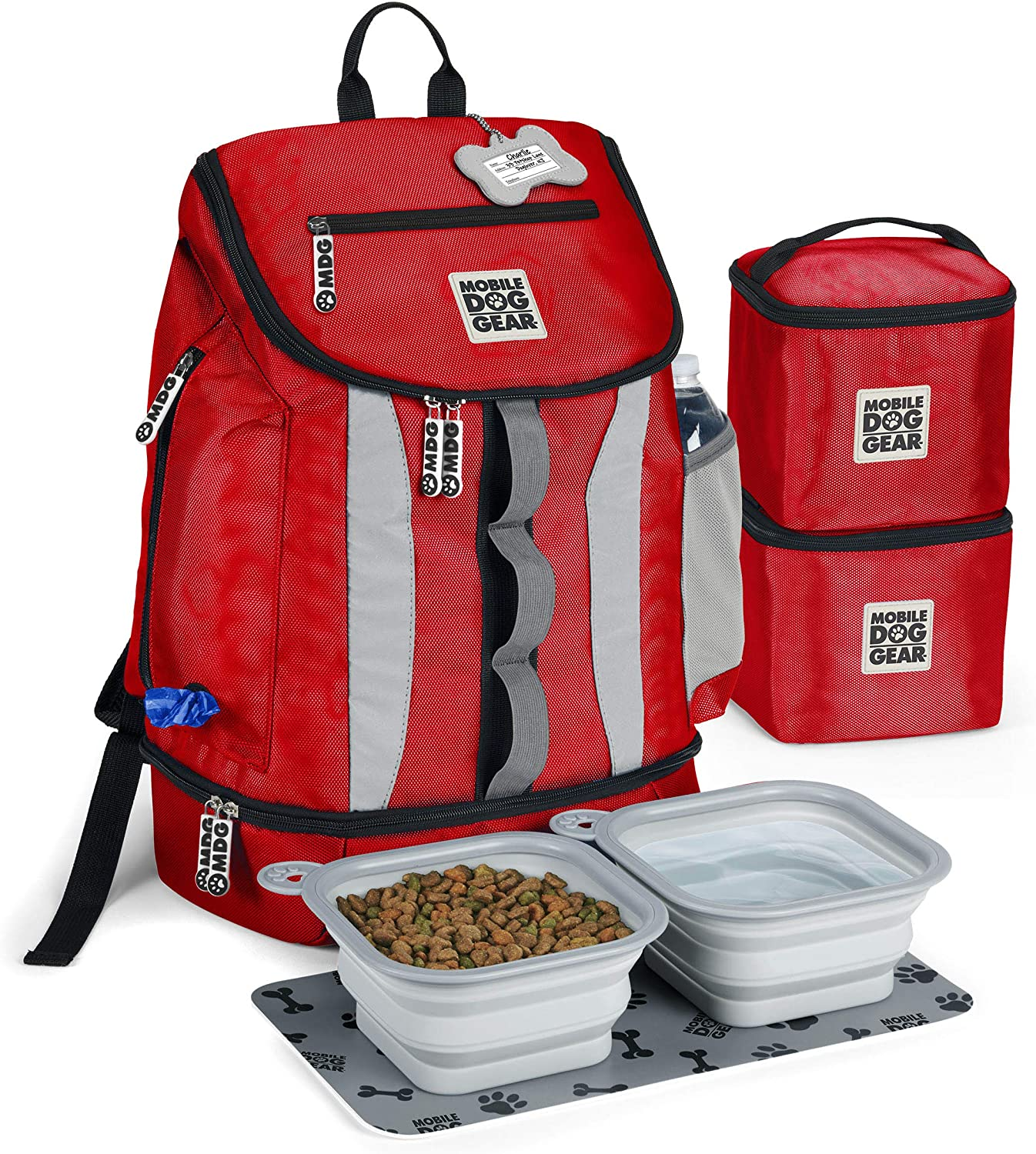 Mobile Dog Gear, Dog Travel Bag, Drop Bottom Week Away Backpack for Medium and Large Dogs, Includes 2 Lined Food Carriers and 2 Collapsible Dog Bowls, Bright Red