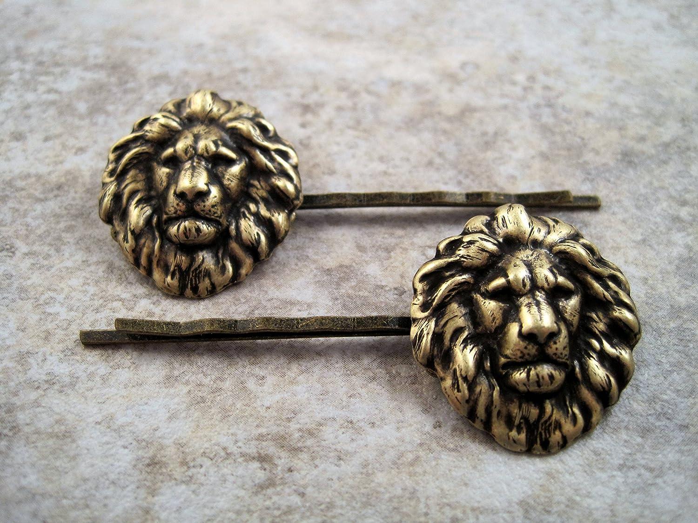 Handmade Antique Bronze Lion Brass Bobby Pins