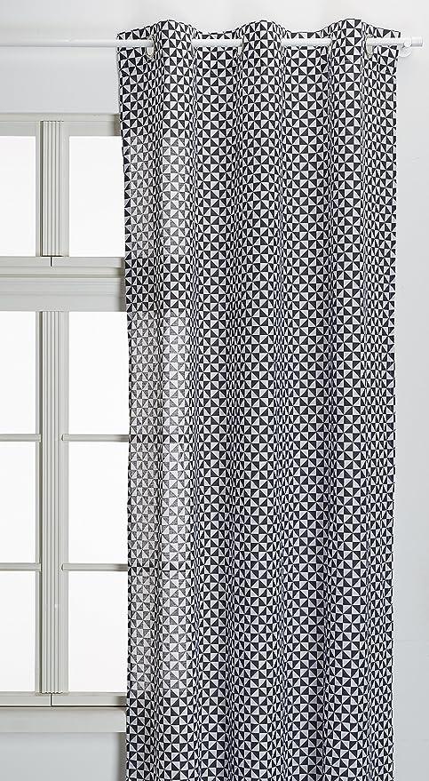 TODAY 016830 Good Thing – Cortina con 6 Ojales algodón Gris/Blanco 140 x 240 cm: Amazon.es: Hogar