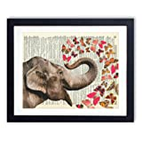 Amazon Price History for:Elephant With Butterflies (#2) Upcycled Vintage Dictionary Art Print 8x10