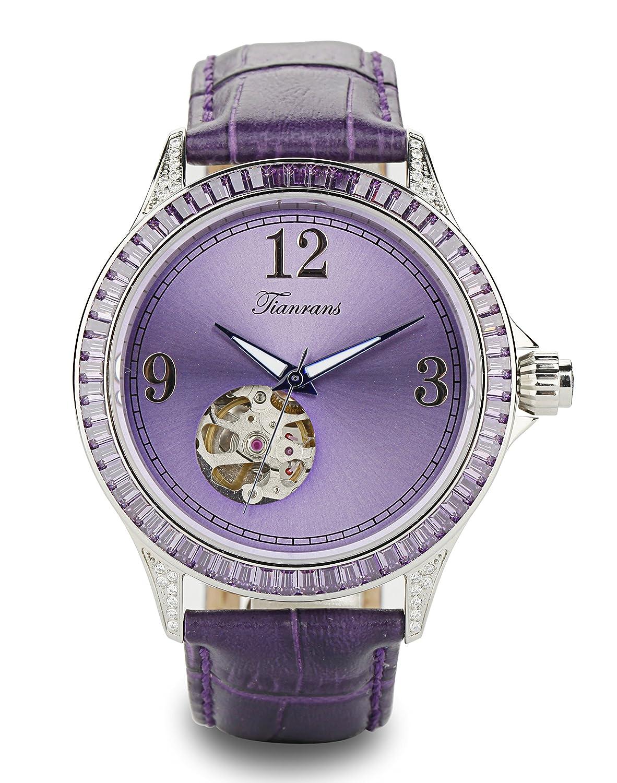 tianrans Damen Crystal akzentuierte LÜnette Violett Sonnenstrahl Skelett Zifferblatt Leder Band automatische Armbanduhr