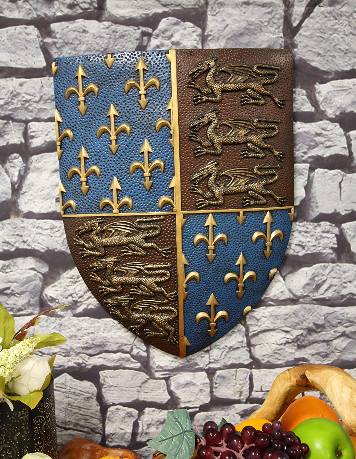 Ebros Gift Large Medieval Kingdom Knight Coat of Arms Le Fleur Symbols And 3 Dragons Royal Shield Wall Decor Plaque In Maroon And Blue Colors 19