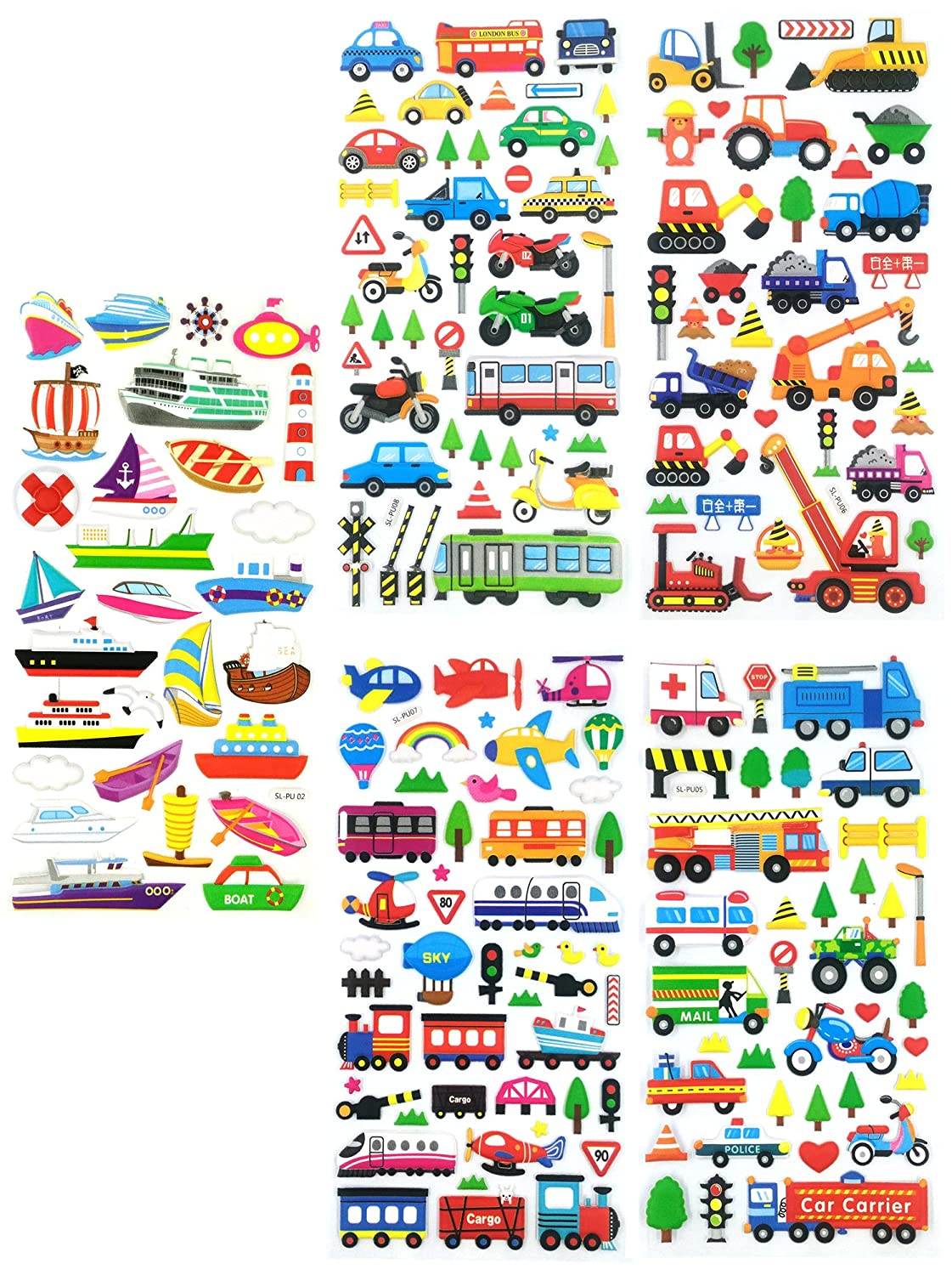 Size 3.75 X 7.5 Inch.//sheet TRANSPORT18-5 Sheets 3D Stickers For Kids Puffy Dimensional Stickers - - Vehicle Stickers Car, Bus, Airplane, Jet, Sailboat, Train, Marine Stickers