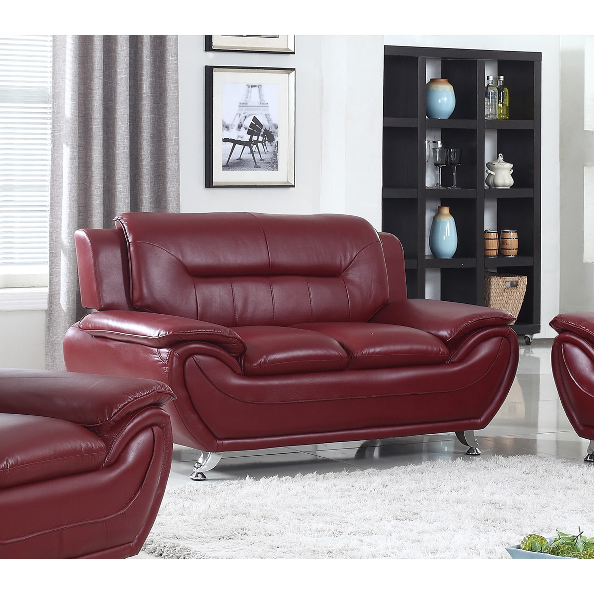 US Furnishing Express Alice Faux Leather Modern Lounge Loveseat Red by US Furnishing Express