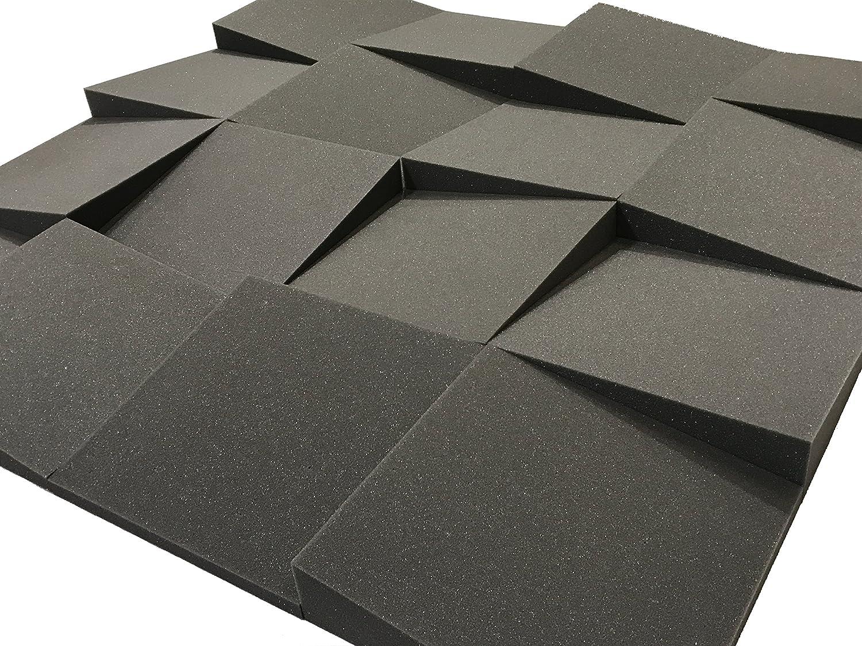 Placas acústicas Slider de Advanced Acoustics, 30,5 cm, acondicionamiento acústico de estudio, juego de 16 placas de espuma, cobertura 1,1 m2