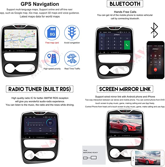 IPS Touch Screen ZWNAV 10.1 Pollici Android 9.0 Car Stereo Navigatore GPS Navigazione per Renault Clio 2013 2018 Bluetooth SWC Lettore Dvd WiFi Europa 49 Country Mapping