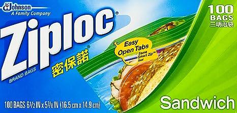 9b4a09961 Ziploc Bolsas Herméticas para Sandwich, Paquete de 100 Bolsas:  Amazon.com.mx: Salud, Belleza y Cuidado Personal