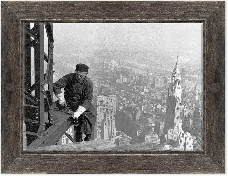 /Ouvrier au travail sur un gratte-ciel /États-Unis Am/érique Dimensione: 3 Cadre sur ch/âssis toile canvas/ /New York Empire State Building/ /Pr/êt /à accrocher/ //