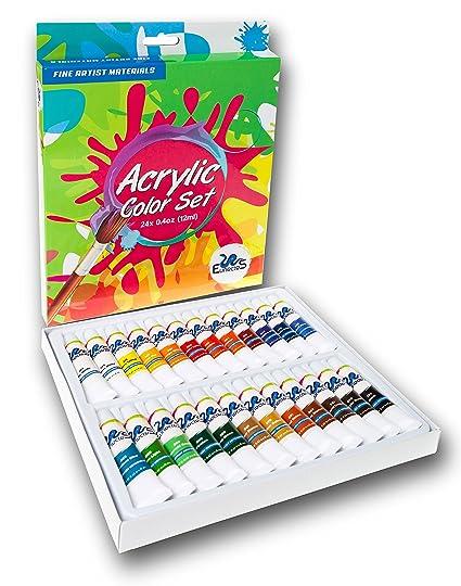 Amazon.com: ACRYLIC PAINT SET - Best Artist Kit of 24x12ml - Color ...