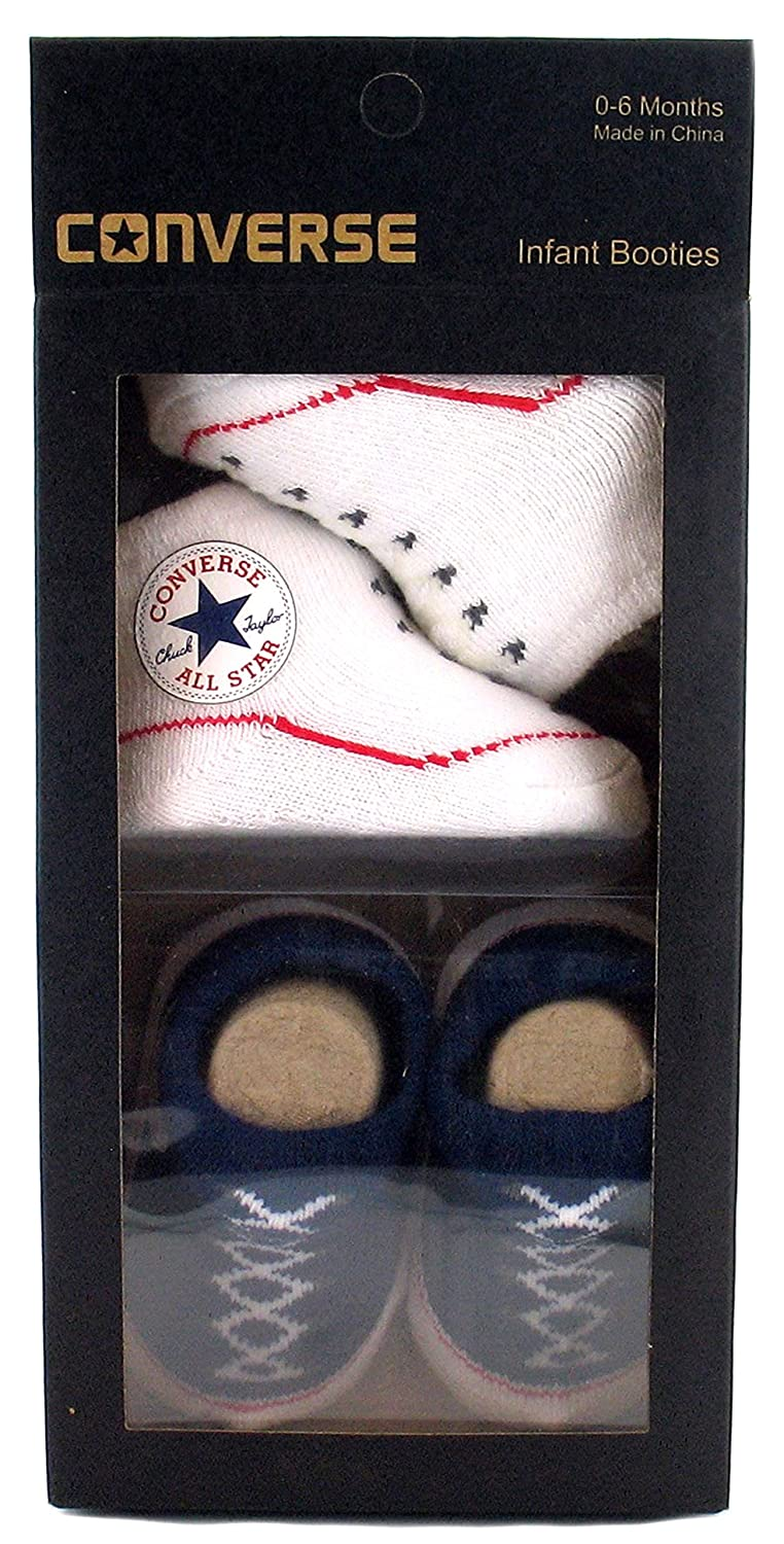 New Infants Converse Textile Upper Slip On Booties, Twin Pack. - Navy & White - UK SIZES
