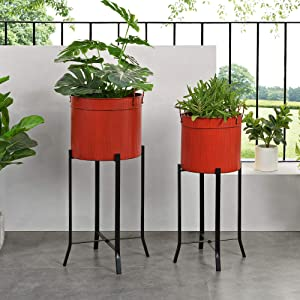 FirsTime & Co. Red Farmhouse Trough Outdoor Planter 2-Piece Set, American Designed, Red, 15.5 x 14 x 32.5 inches (70271)