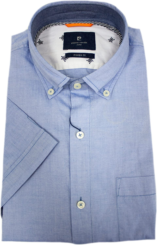 Pierre Cardin - Camisa casual - Camisa de Ocio - con botones - Manga corta - para hombre azul claro Large: Amazon.es: Ropa y accesorios