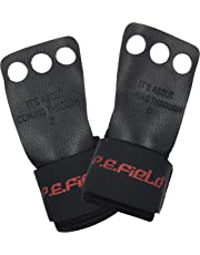 P.E.Field Top-Grain Leather Gymnastics Hand Grips with Unique Wrist Protection System, Perfect for Crossfit, Pull ups, Kettlebell, Weightlifting &More. Protect Your Palms and Wrists.