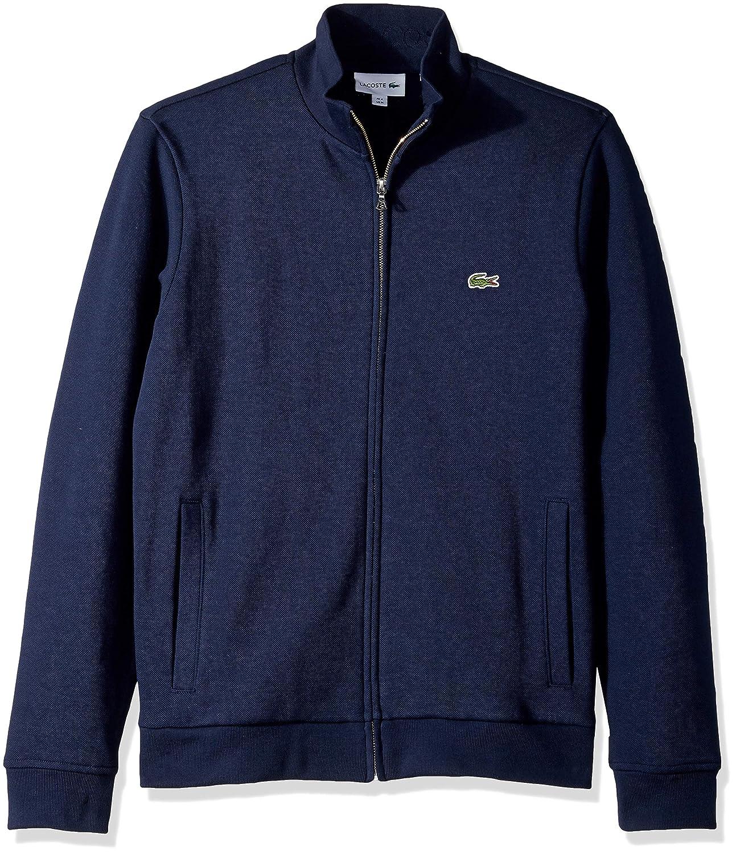 Lacoste Mens Long Sleeve Brushed Pique Fleece Full Zip W//Side Pockets Sweatshirt