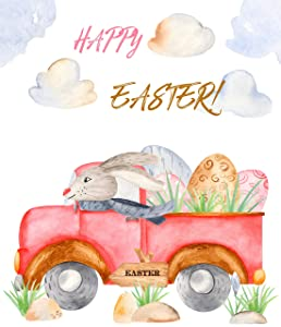 Jolly Jon Easter Garden Flag - Happy Easter Spring Yard Decoration - Bunny Rabbit Driving Easter Eggs - Double Sided Welcome Home Flags - 12 x 18 White Flag