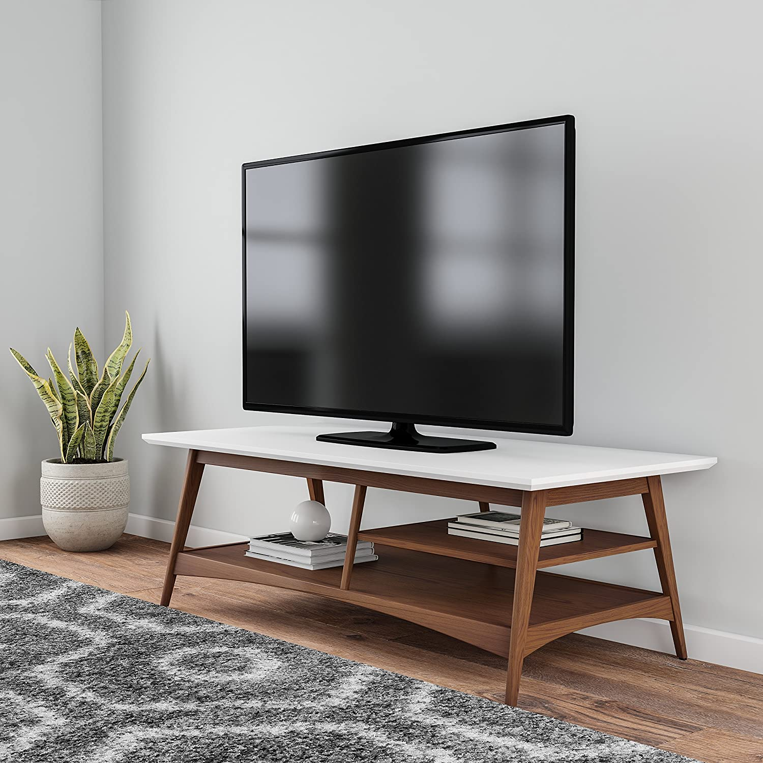 Mod Haus Living Mid Century Retro Wood Two Tone 54 Inch Media Cabinet Storage With Shelves And Tapered Legs   Includes Pen by Mod Haus Living