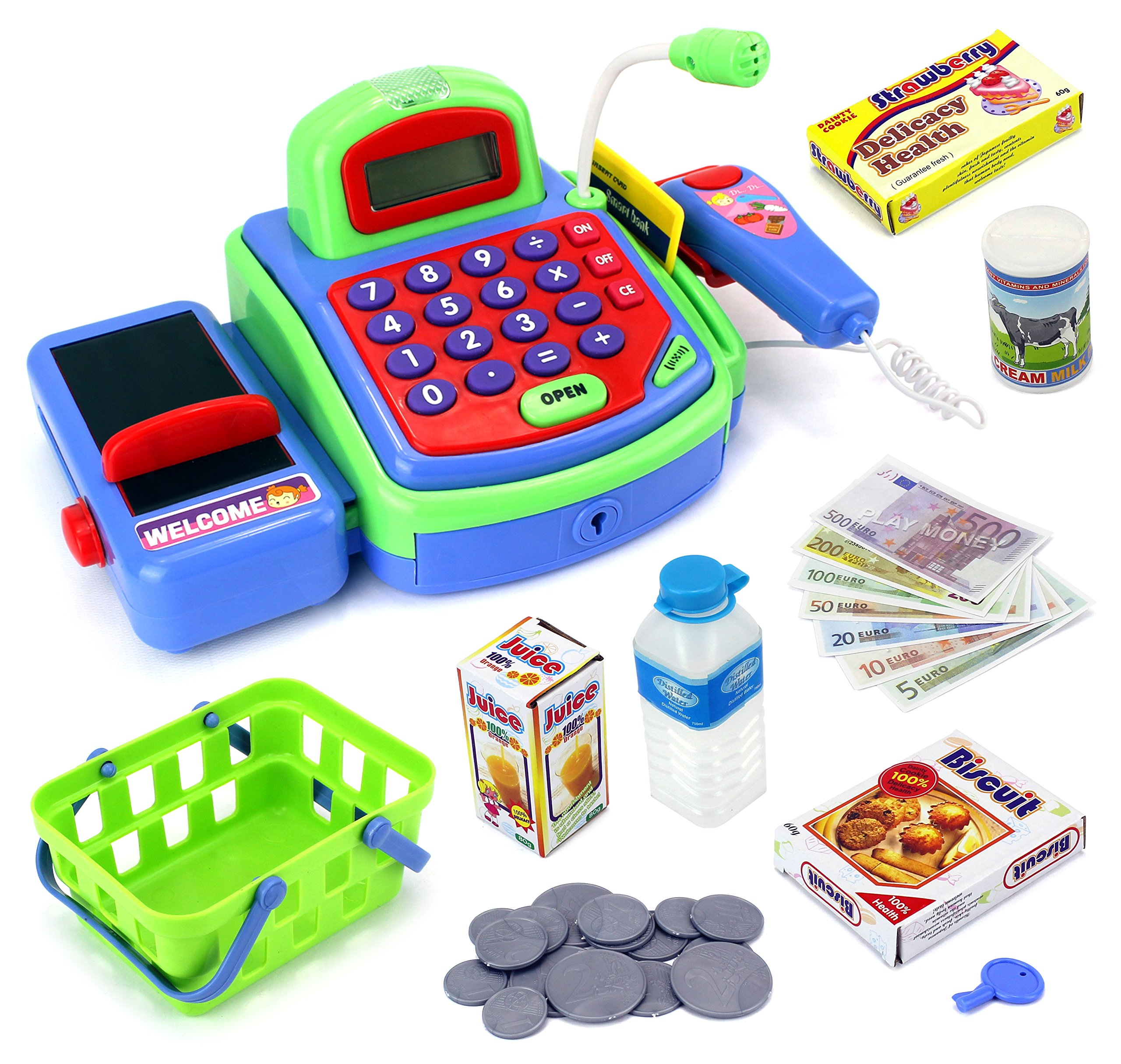 Velocity Toys Toy Cash Register Imagine Multi-functional Educational Pretend Play Battery Operated Toy Cash Register w/Working Calculator and Microphone,Scanner,Money and Credit Card,Groceries(Green) by Velocity Toys
