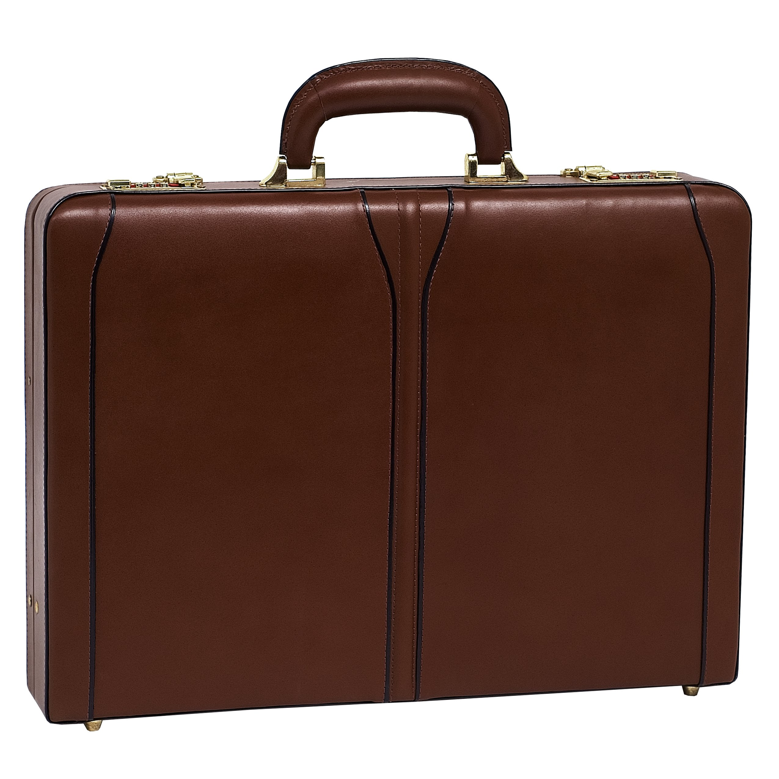 McKleinUSA Lawson [Personalized Initials Embossing] Leather 3.5'' Attache Briefcase in Brown by McKlein