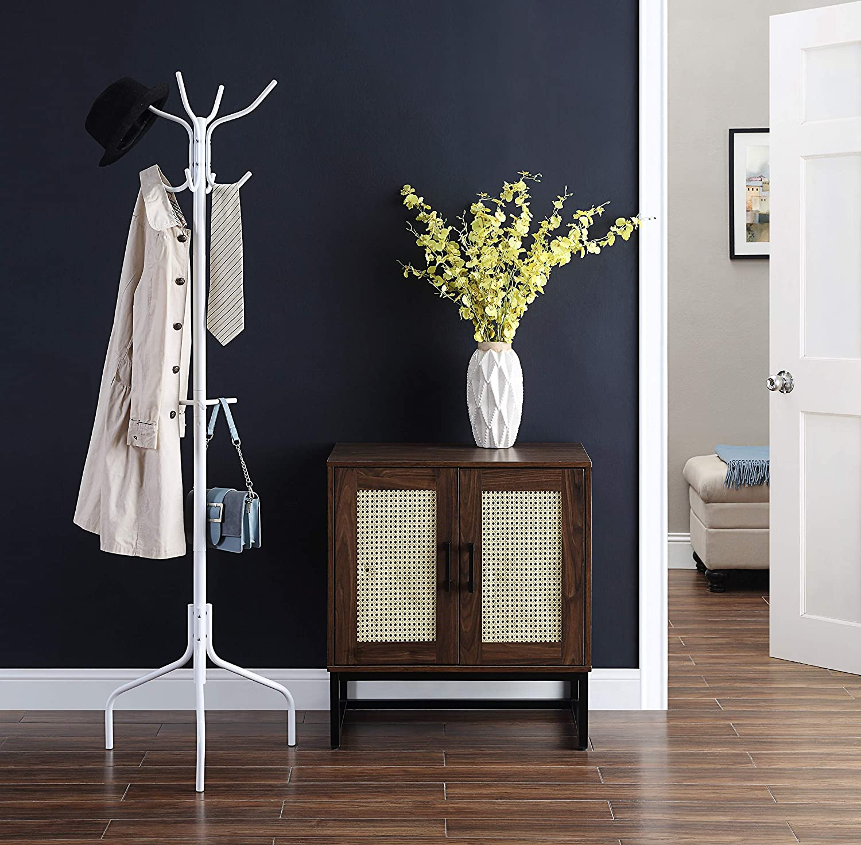 SunnyPoint Standing Metal Coat Rack Hat Hanger 11 Hook for Jacket, Purse, Scarf Rack, Free Standing, White