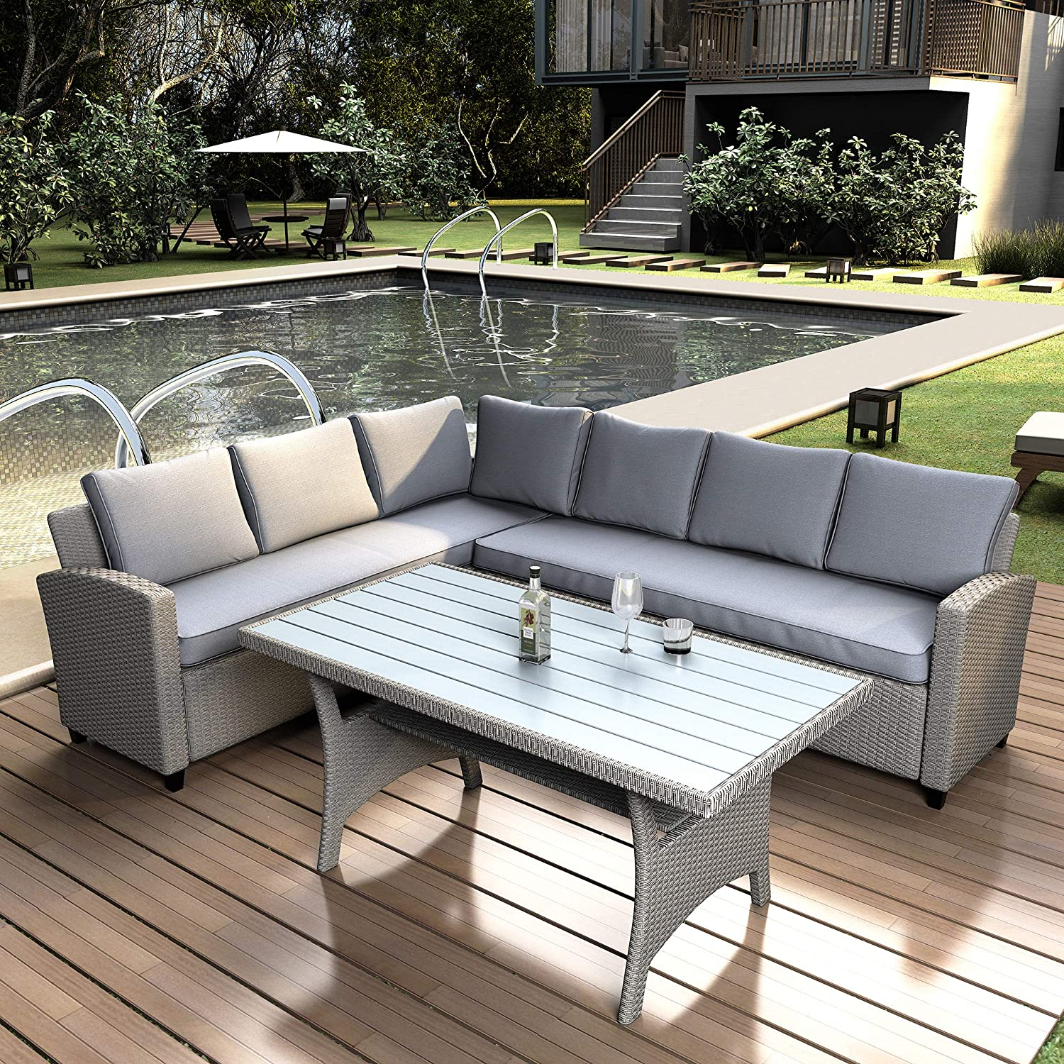 LZ LEISURE ZONE Patio Dining Table Set Outdoor Furniture PE Rattan Wicker Conversation Set All-Weather Sectional Sofa Set with Table & Soft Cushions (Grizzle)