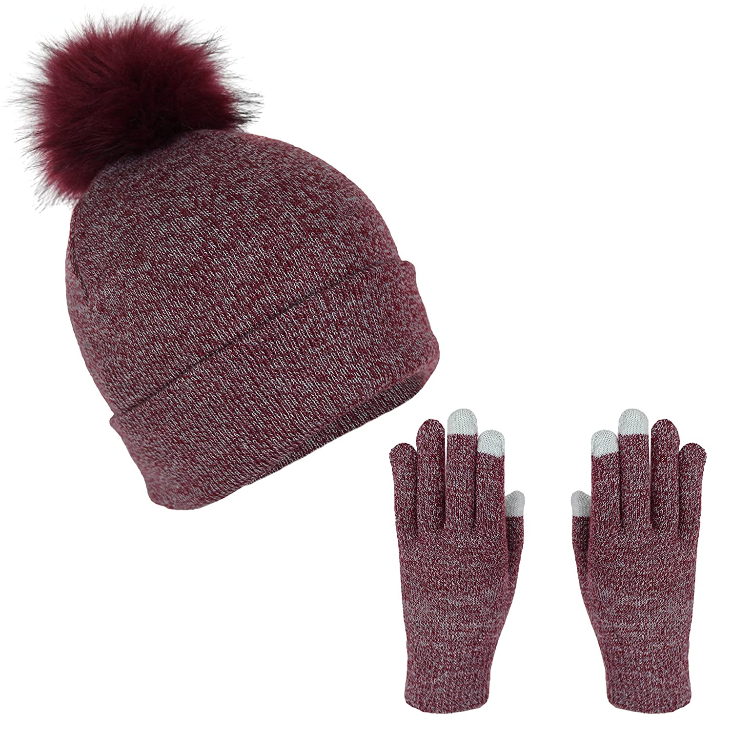 70dfcfd5eeab4 Marled Winter Knit Beanie Hat with Fur Pom Pom and Touch Screen Gloves Gift  Set (Heather Burgundy) at Amazon Women s Clothing store
