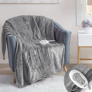 Degrees of Comfort Electric Heated Throw Blanket | Fast Heating, Plush Microlight, UL Certified & Low EMF Radiation – 6ft Cord and 3ft Controller Cable – 3 Heat Settings – Easy to Wash 50x60 Grey
