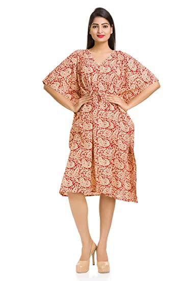 1ca6b0a3fff1 Red Paisley Printed Cotton Women's Kaftan Sexy Ladies Nightwear Maternity  Gown Kimono Cover up Short Dressing ...