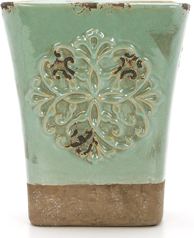 Hosley 9 Inch High Seafoam Green Ceramic Vase. Ideal for Dried Floral Gift for Wedding Bridal Garden O9