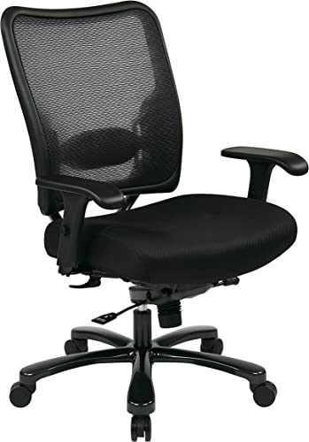 SPACE Seating Big and Tall AirGrid Back and Padded Mesh Seat, Adjustable Arms, Gunmetal Finish Base Ergonomic Managers Chair, Black