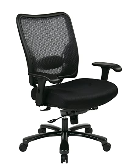 Space Seating Big And Tall AirGrid Back And Padded Mesh Seat, Adjustable  Arms, Gunmetal