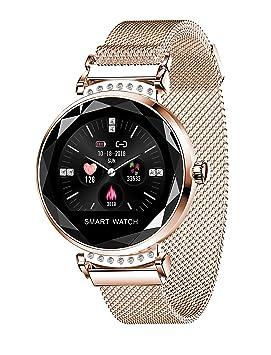 Reloj Inteligente Mujeres, Bluetooth Smartwatch con Banda de Acero ...