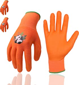 Kids Gardening Gloves, 3 Pairs Candy Colors Children Garden Gloves with Rubber Coated Palm for Age 2-13 Girls Boys (Size 2 (Age 2-4), Orange 3 Pairs)
