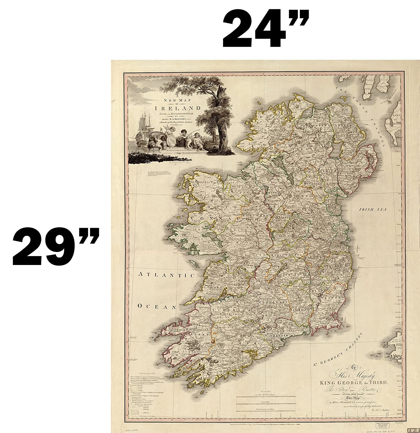 Map Of Ireland Print.Amazon Com Ireland Antique Map Wall Art 24 X 29 Great Irish Gift