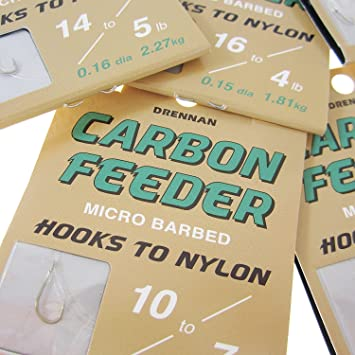 10 PER PACK DRENNAN CARBON FEEDER  MICRO BARBED HOOKS