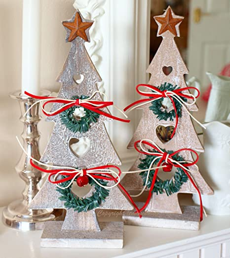 christmas tree decorations wooden christmas trees shabby distressed style in natural wood finish with