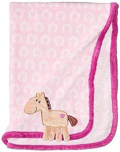 Hudson Baby Unisex Baby Plush Blanket, Pink Horse, One Size
